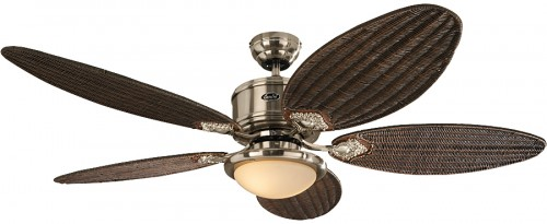 Dc Ceiling Fan Eco Elements Chrome Brushed With Antique Cane Blades Light And Remote Control