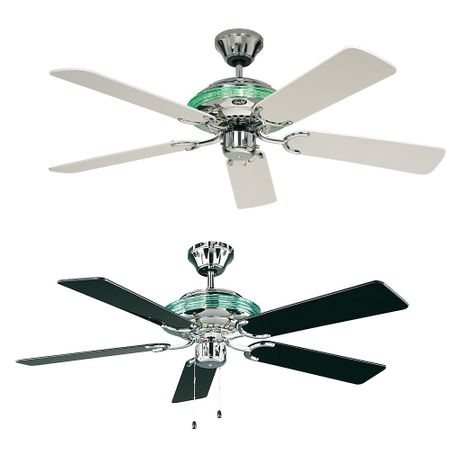 "CasaFan ceiling fan MERKUR 132 cm / 52"" Chrome polished with pull cord blades selectable"