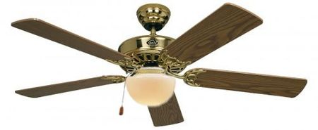 "Ceiling fan Classic ROYAL 132 cm / 52"" Brass polished with lighting and pull cord"