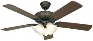 "Ceiling fan Classic ROYAL 132 cm / 52"" Brown antique with lighting and pull cord"