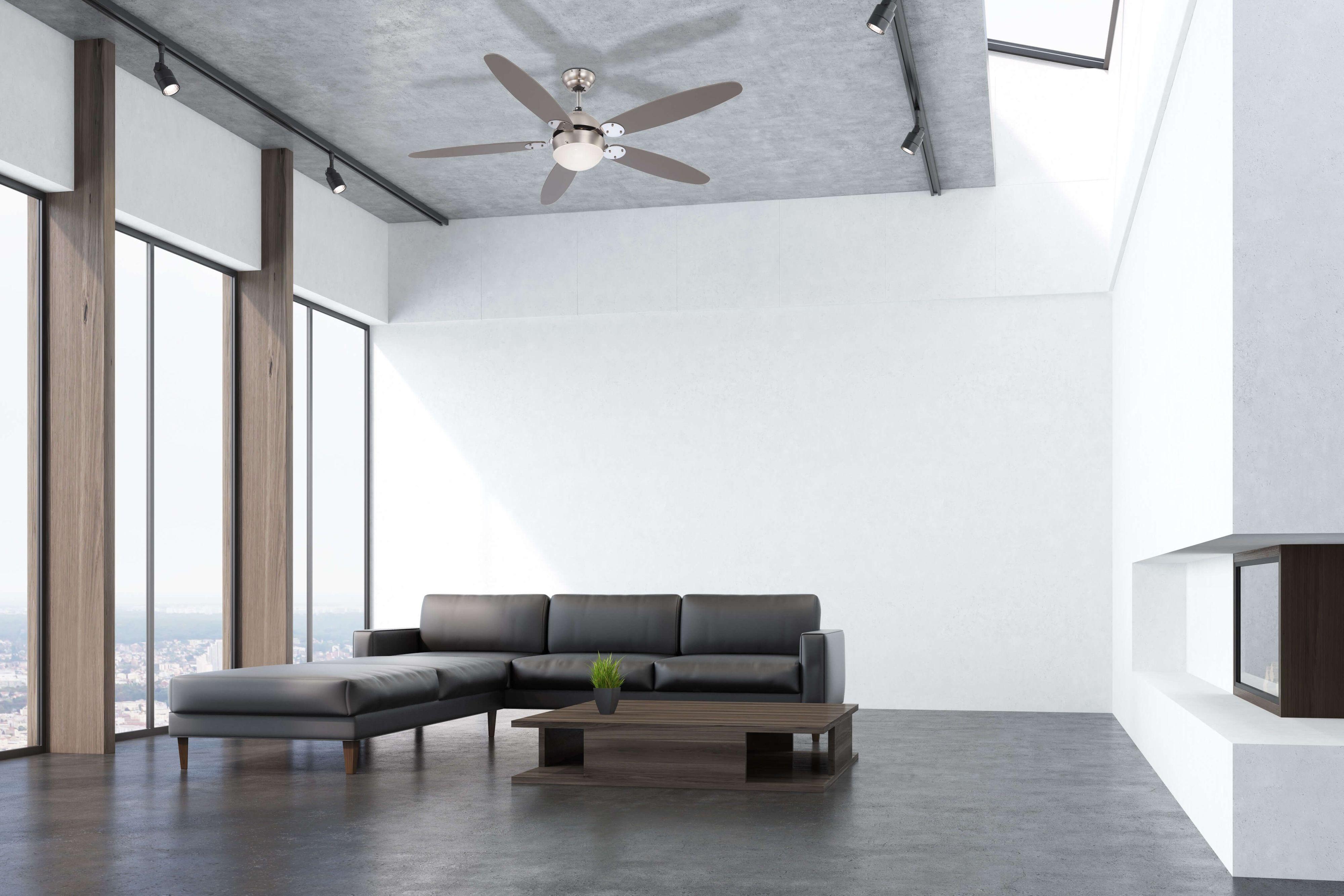 Design Ventilateur Plafond Azura 132 cm Nickel mat//chrome avec éclairage