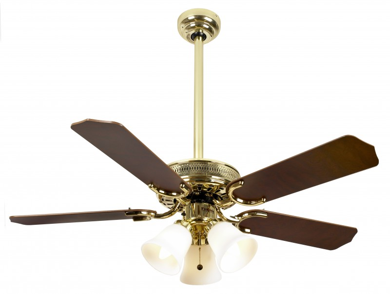 Ceiling Fan Vienna Polished Brass With Light 107 Cm 42