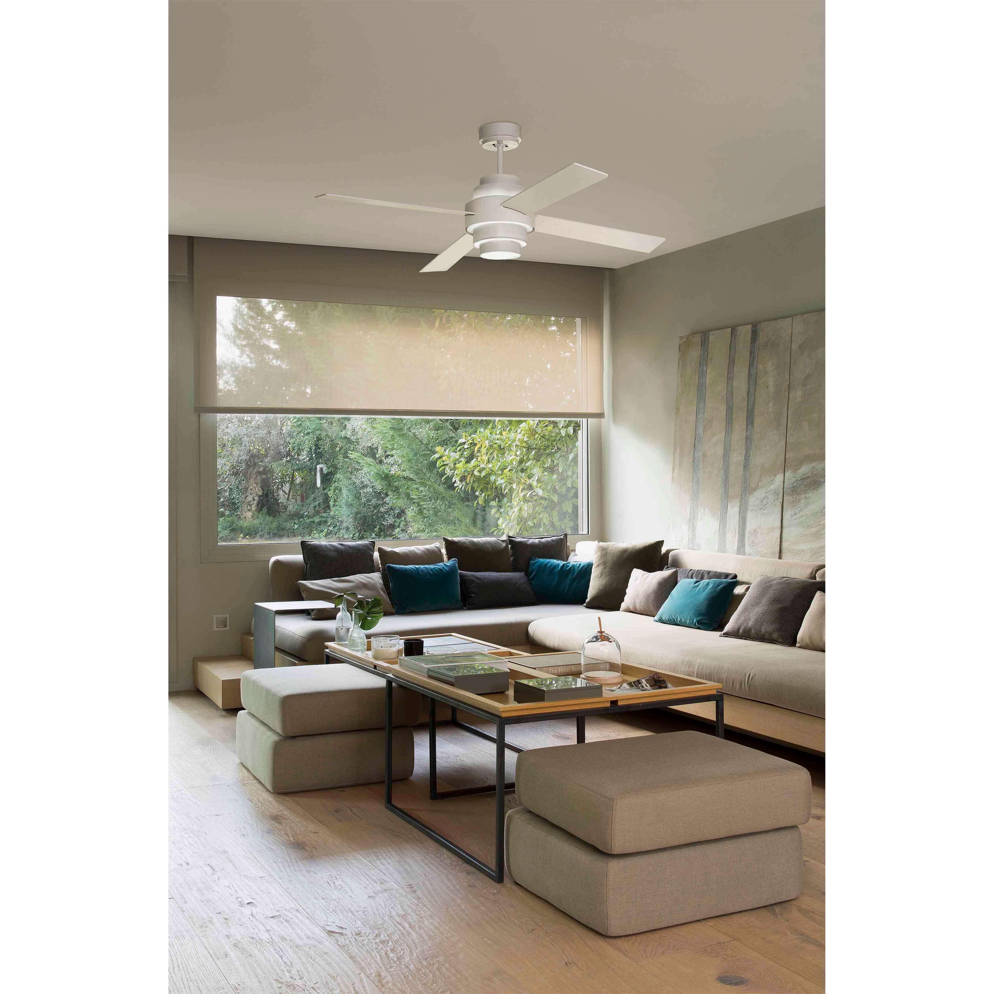 energiespar deckenventilator disc wei 132 cm mit led. Black Bedroom Furniture Sets. Home Design Ideas