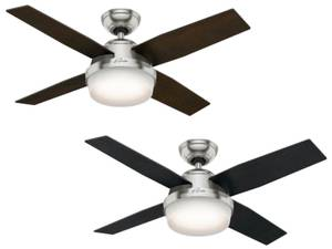 "Ceiling Fan Dante Brushed Chrome 112cm / 44"" with Light"