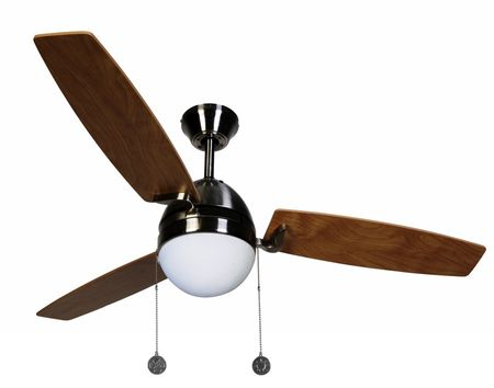 "Ceiling Fan Boreas Chrome brushed 122 cm / 48"" with lighting by Beacon"