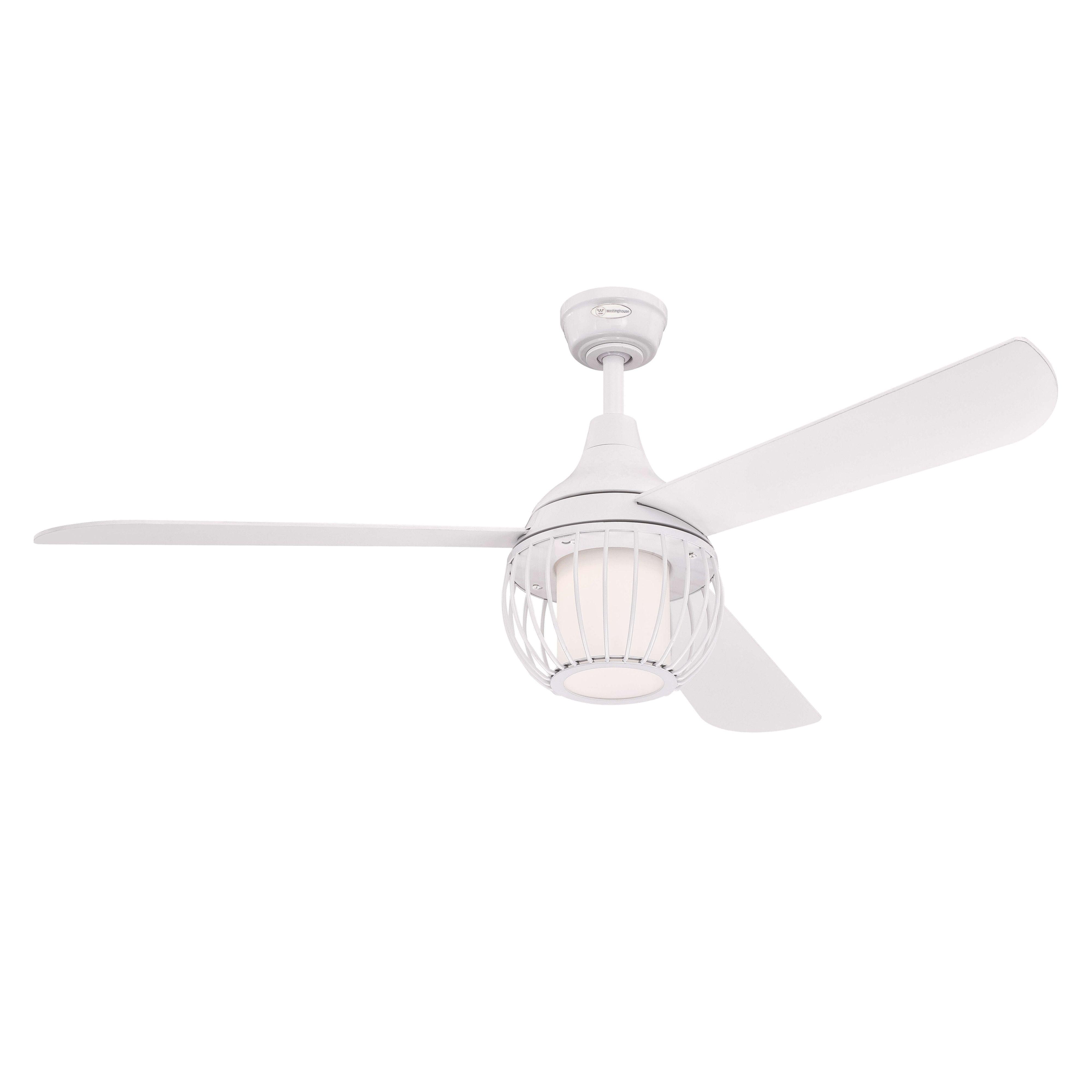 Ventilateur de plafond Graham Blanc 132 cm avec LED   Boutique en ligne Ceres