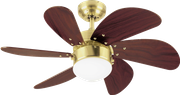 Westinghouse ceiling fan Turbo Swirl satin brass with lighting 001