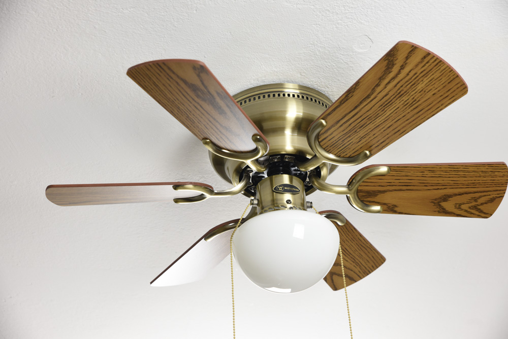 Ceiling Fan Petite Antique Brass With Pull Cord 76 Cm 30