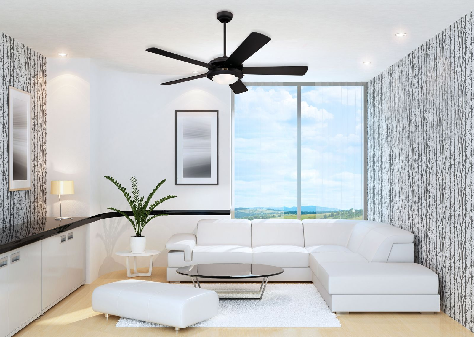 Ceiling fan comet black with light 132cm 52 ceiling fans for ceiling fan comet black with light 132cm 52quot aloadofball Gallery