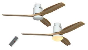 Ceiling Fan Aerodynamix white / natural wood inkl. light