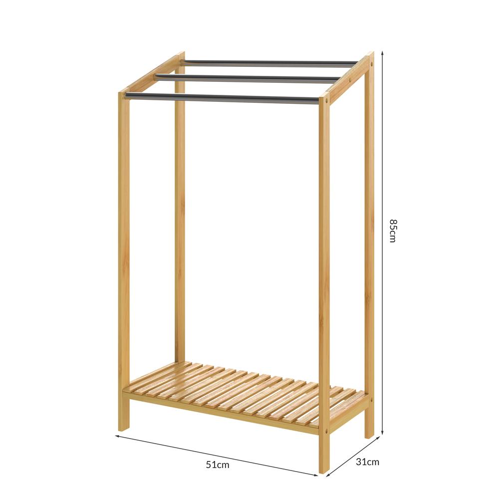Handtuchhalter Bambus Holz Edelstahlstangen Belastbarkeit