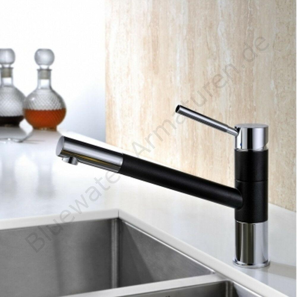 Hochwertige Bluewater DELAWARE Schwarz Metallic Küchenarmatur mit Brause