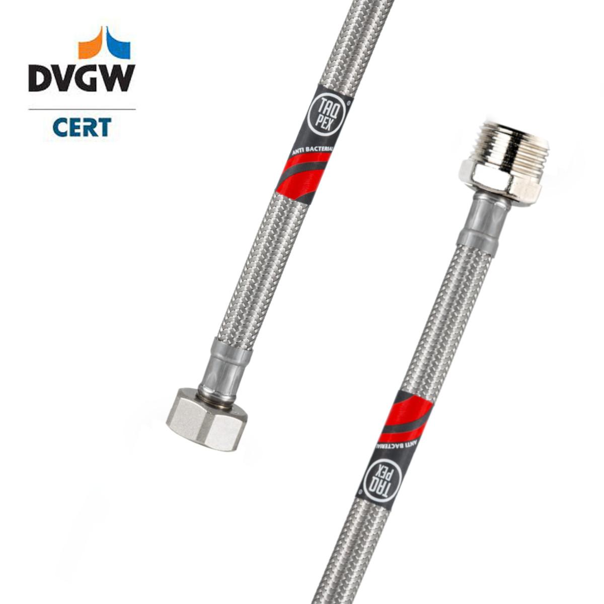 """DVGW geprüfter Flexschlauch 3/8"""" ÜM x 3/8"""" AG 300mm Wasseranschluss-Anschlussschlauch Verlängerung"""
