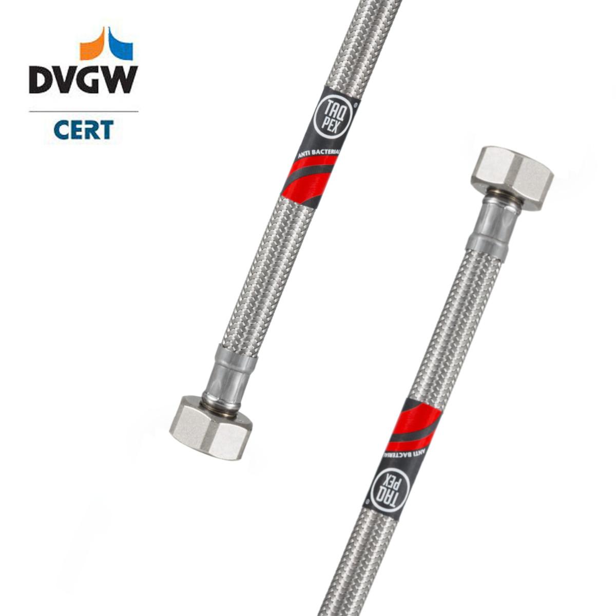 """DVGW geprüfter Flexschlauch 3/8"""" ÜM x 3/8"""" ÜM 500mm Wasseranschluss-Anschlussschlauch Verlängerung PEX"""