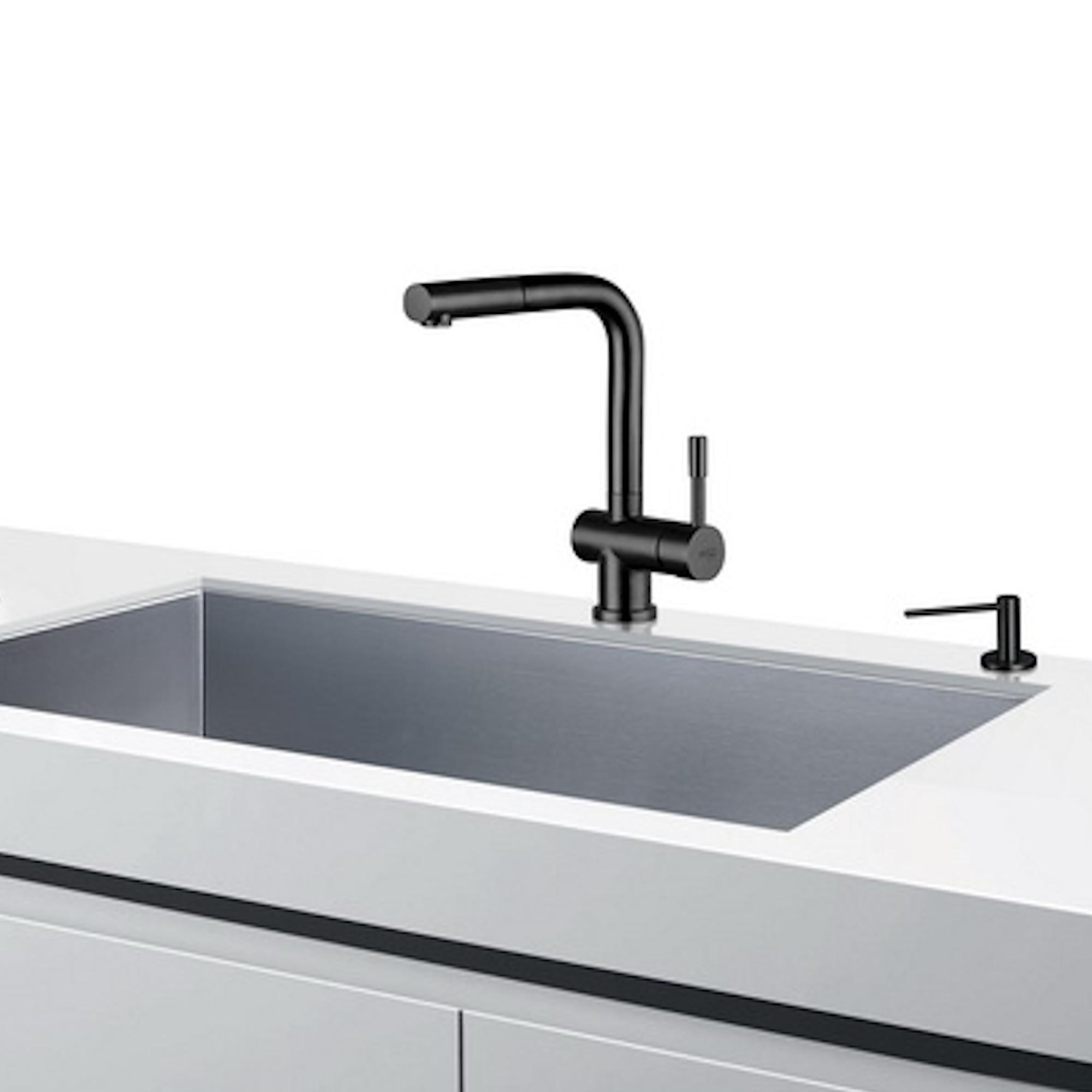 Bluewater Corsa Küchenarmatur Wasserhahn INOX Schwarz Massiv mit ausziehbarer Brause