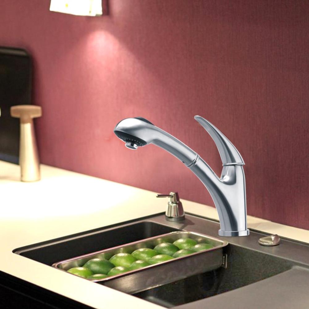 Schneeberg MARETA Küchenarmatur INOX Edelstahl Massiv mit ausziehbarer Brause 696025