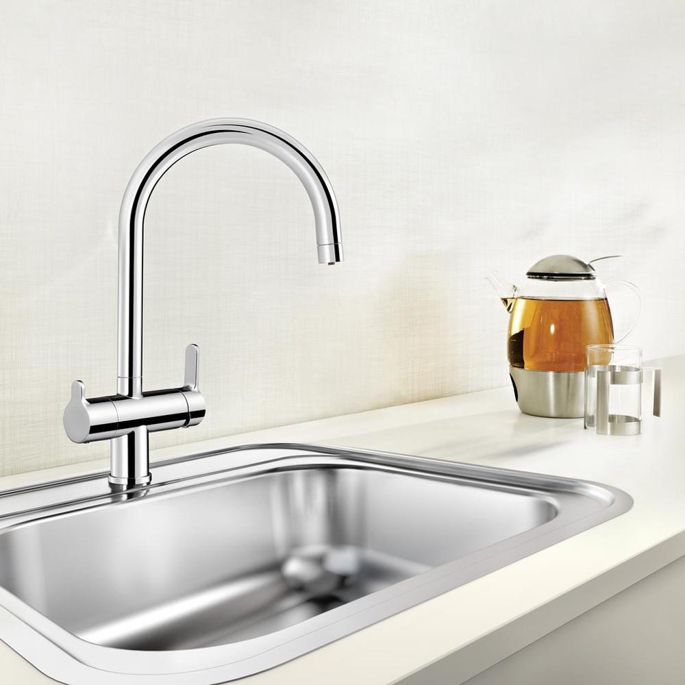 BLANCO 3 Wege Armatur C-Auslauf Chrom für Osmoseanlagen Wasserfilter Wassersprudler