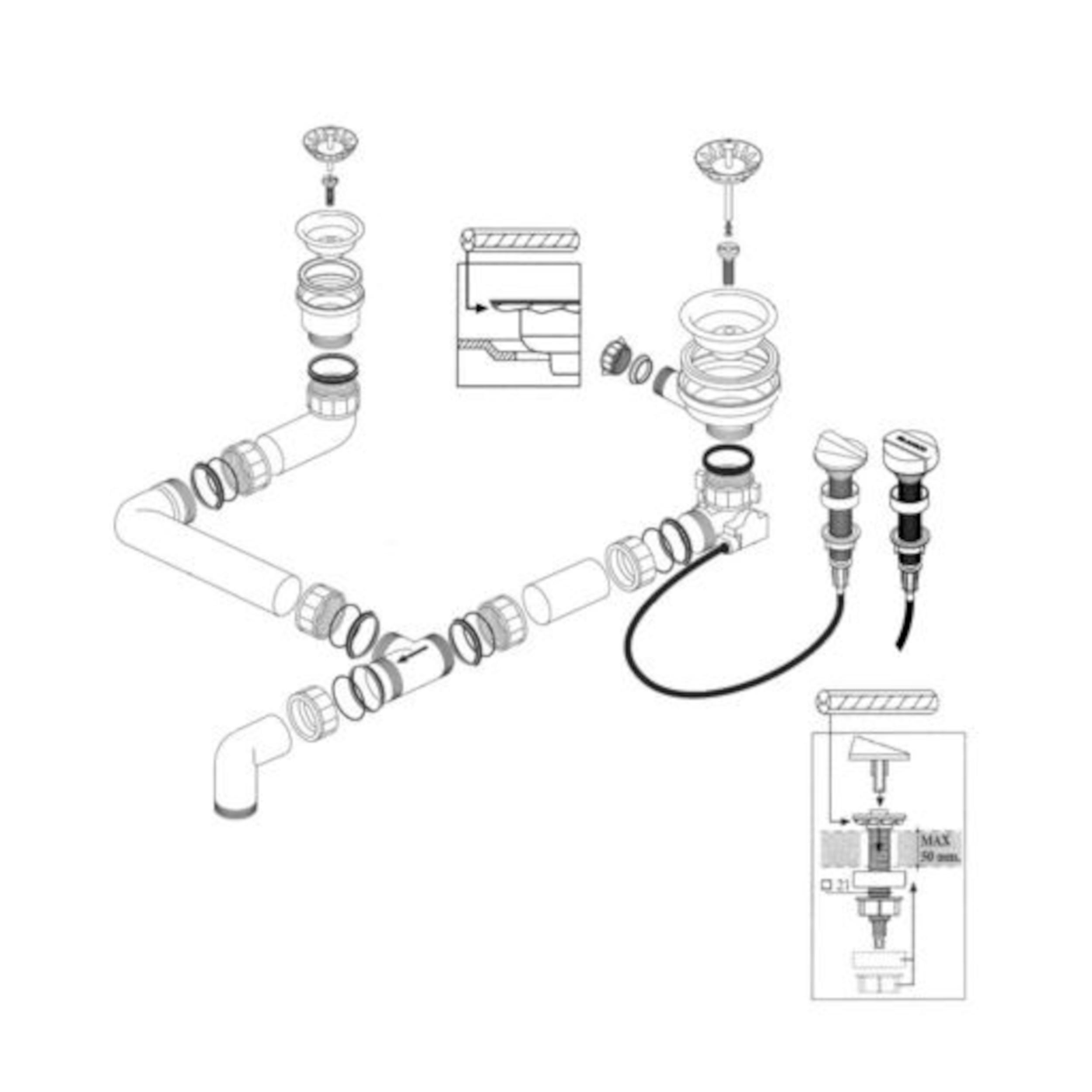 BLANCO Ablaufgarnitur 1 x 3,5'' Sieb - 1 x 1,5'' Sieb Ablauffernbedienung ohne Überlauf 218163