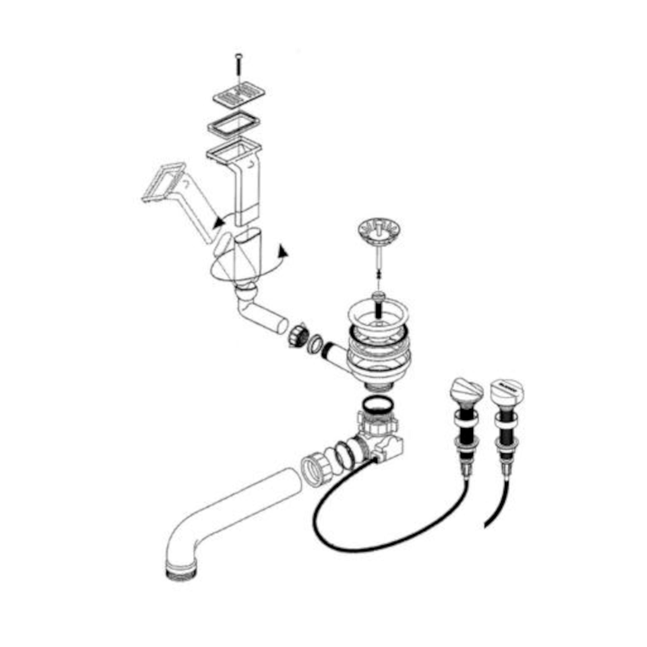 BLANCO Ablaufgarnitur 1 x 3,5'' Sieb mit Ablauffernbedienung Überlauf rechteckig/horizontal 221404