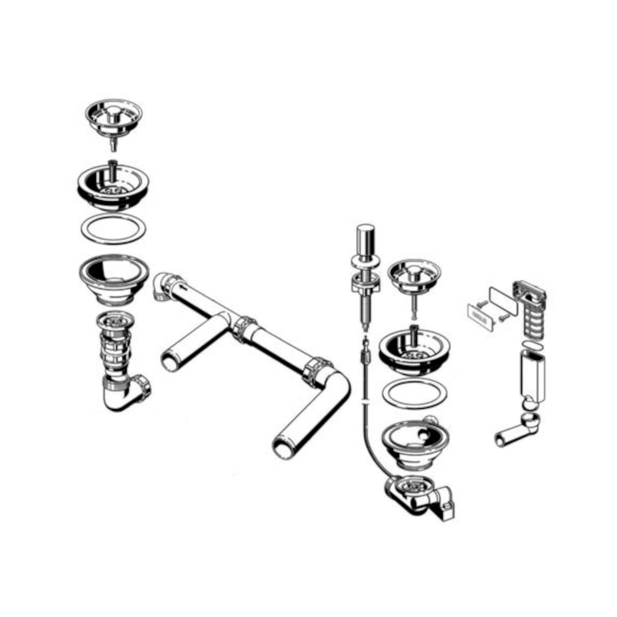 BLANCO Ablaufgarnitur 2 x 3,5'' Sieb mit Zug-Ablauffernbedienung C-overflow modernes Sieb für Edelstahl-Spülen 221531