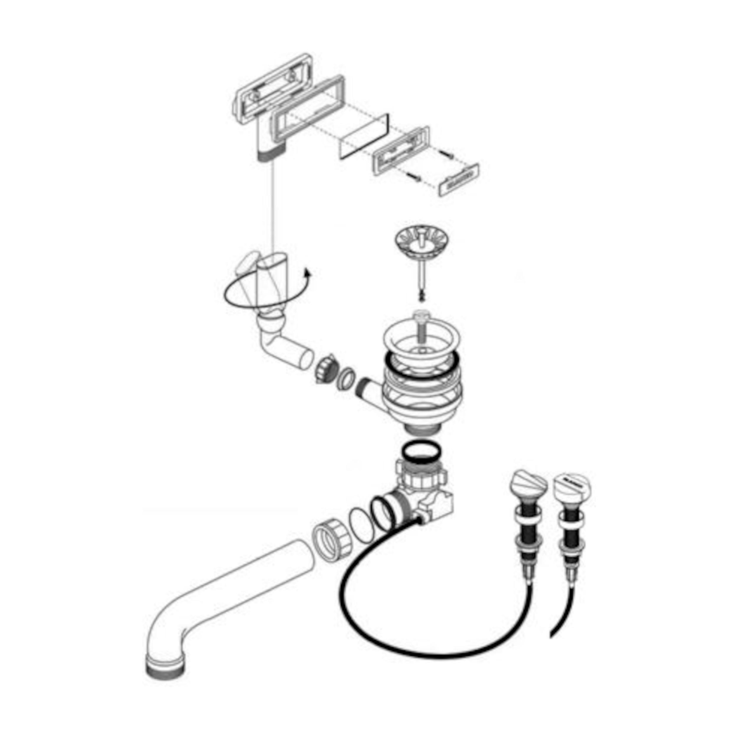 BLANCO Ablaufgarnitur 1 x 3,5'' Sieb mit Ablauffernbedienung C-overflow 223138