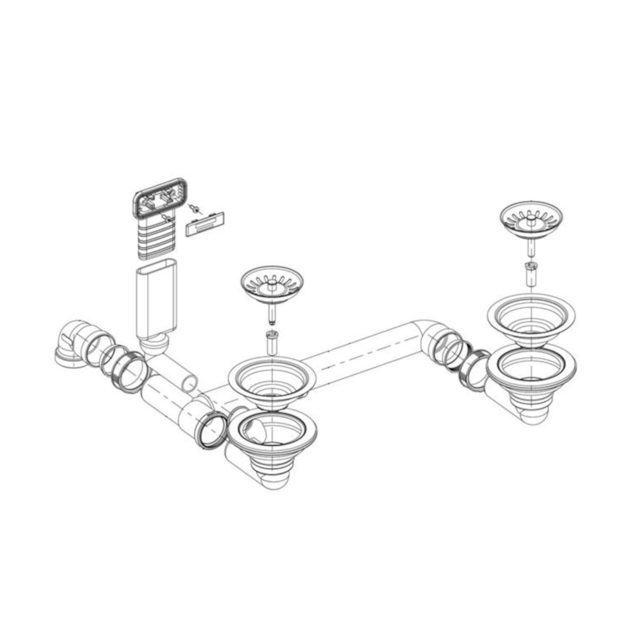 BLANCO Ablaufgarnitur 2 x 3,5'' ohne Ablauffernbedienung C-overflow modernes Sieb 225110