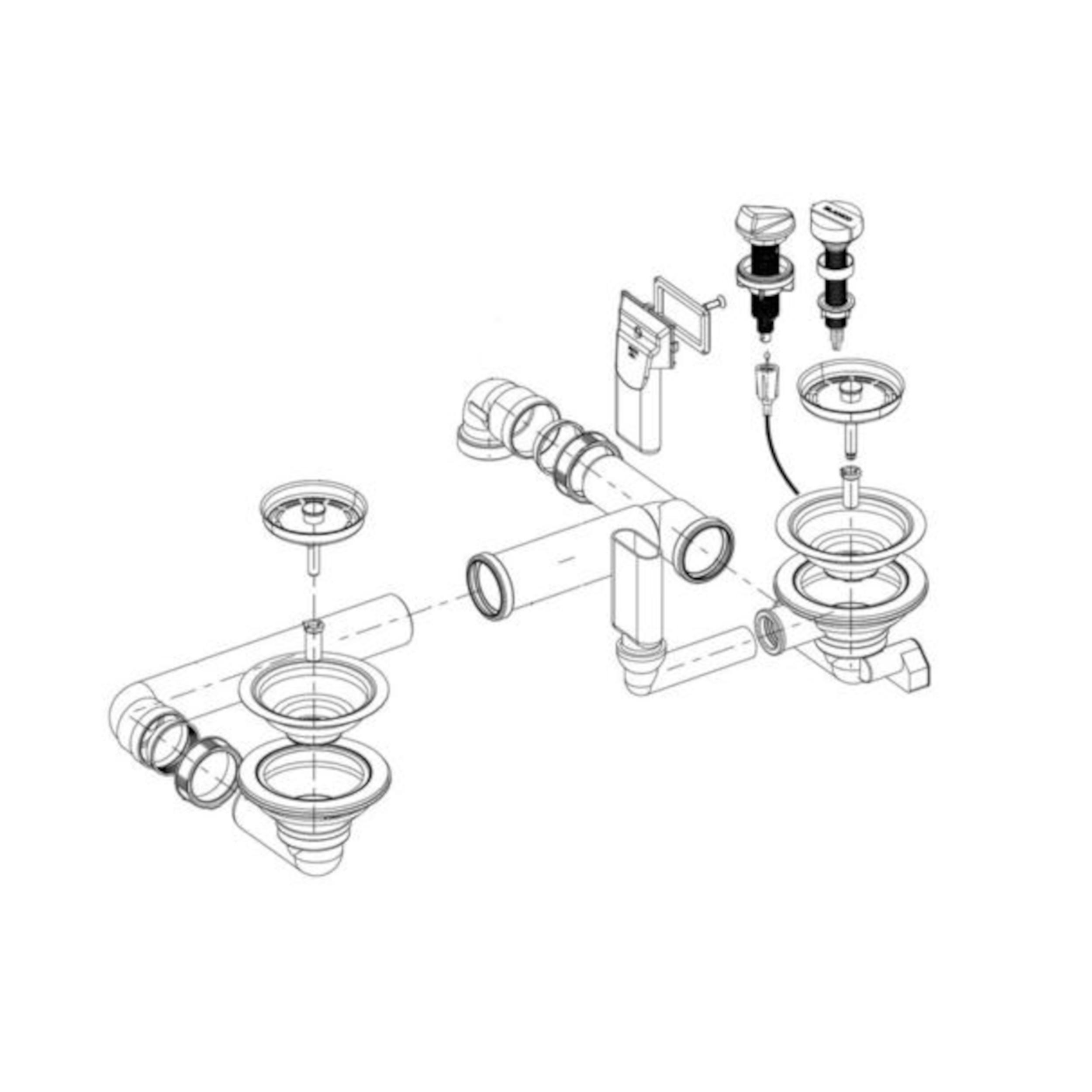 BLANCO Ablaufgarnitur 2 x 3,5'' mit Ablauffernbedienung Überlauf rechteckig modernes Sieb 225711