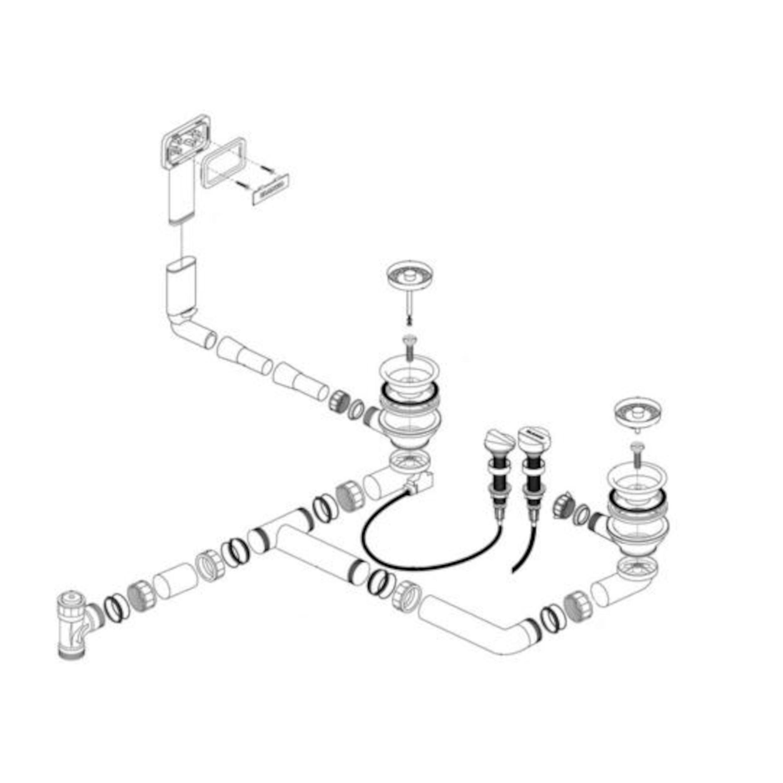 BLANCO Ablaufgarnitur 2 x 3,5'' mit Ablauffernbedienung C-overflow rund modernes Sieb für Edelstahl-Spülen 227493