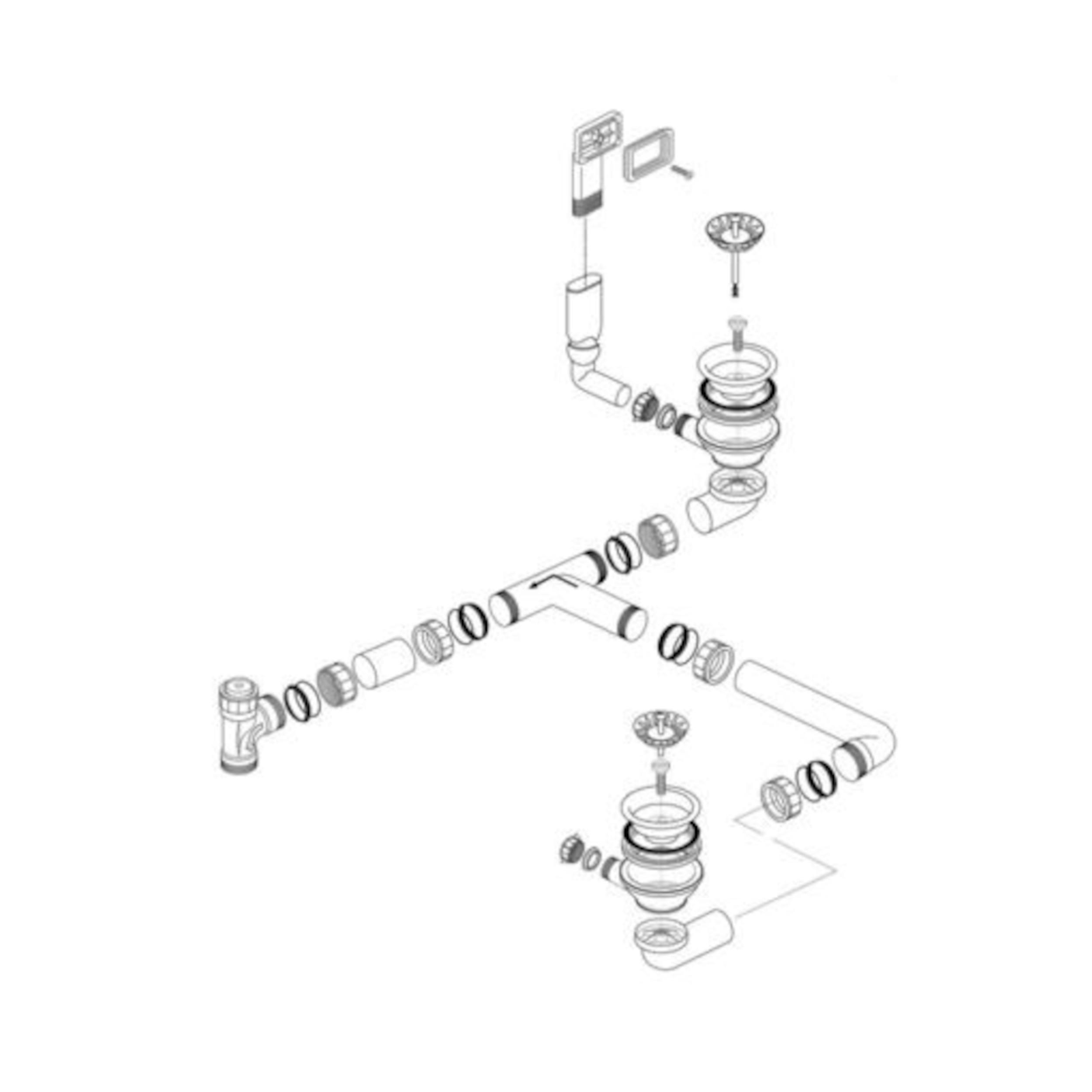 BLANCO Ablaufgarnitur 2 x 3,5'' Sieb ohne Ablauffernbedienung Überlauf rechteckig 227519