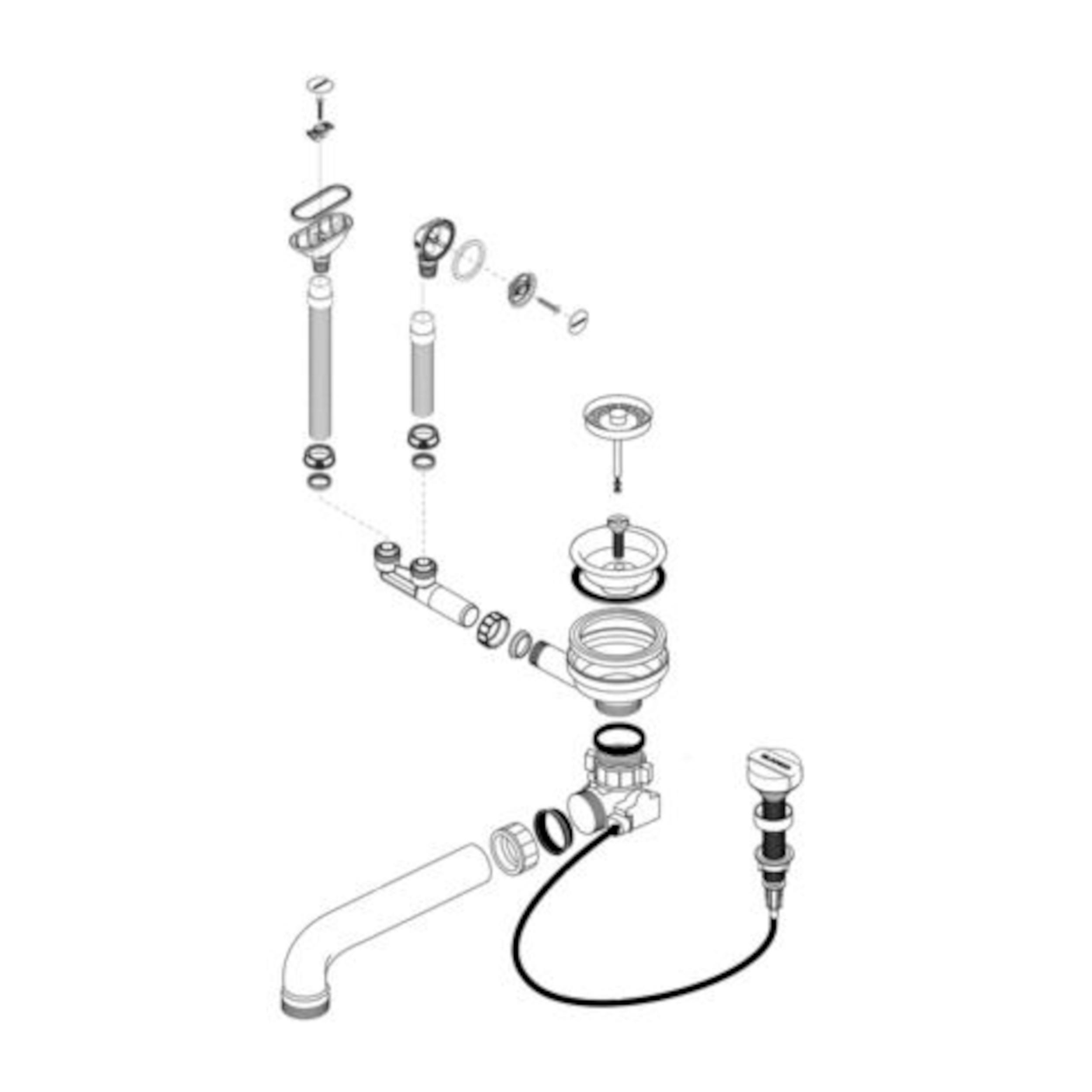 BLANCO Ablaufgarnitur 1 x 3,5'' mit Ablauffernbedienung 2 x C-overflow rund modernes Sieb 230400