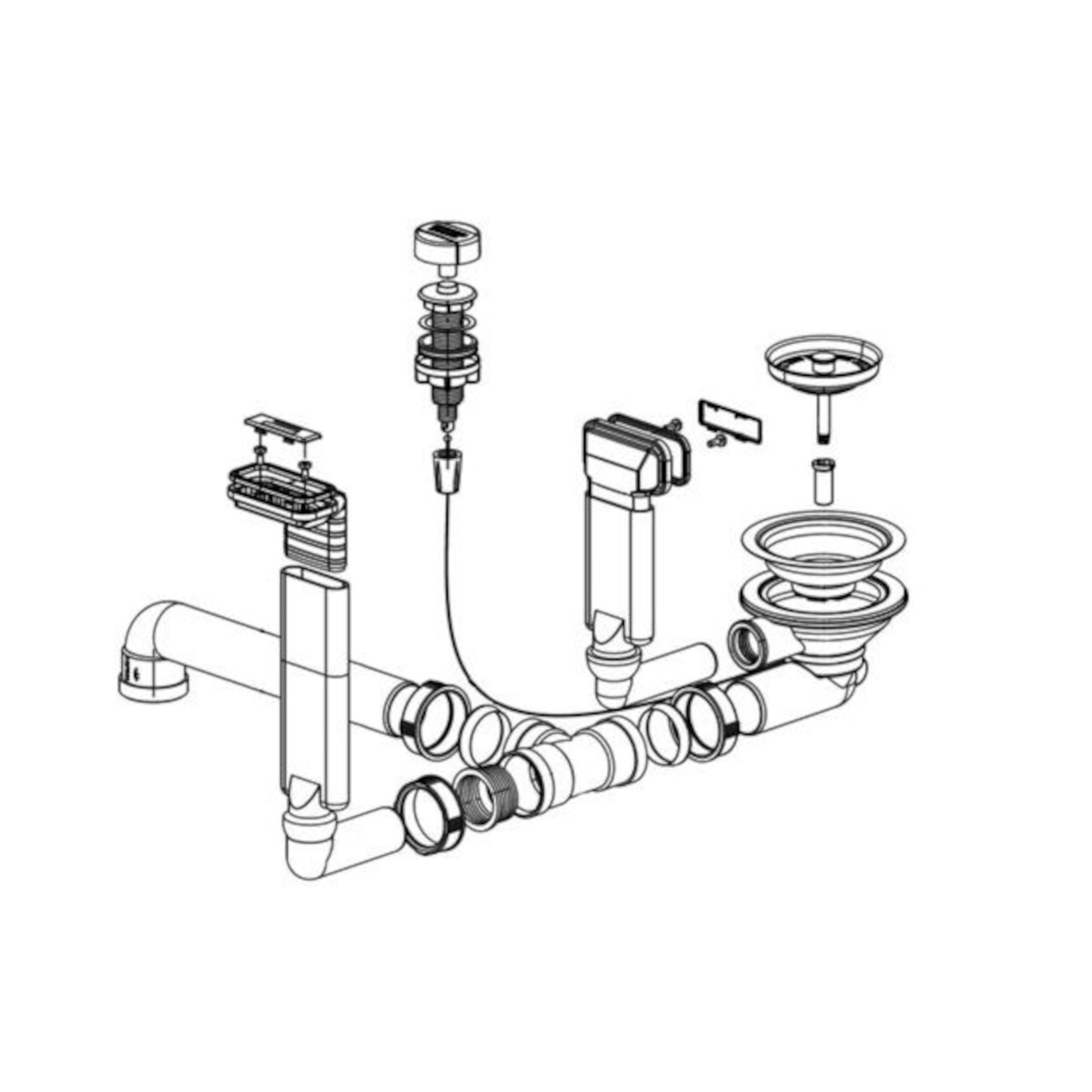 BLANCO Ablaufgarnitur 1 x 3,5'' mit Ablauffernbedienung 2 x C-overflow modernes Sieb 231464