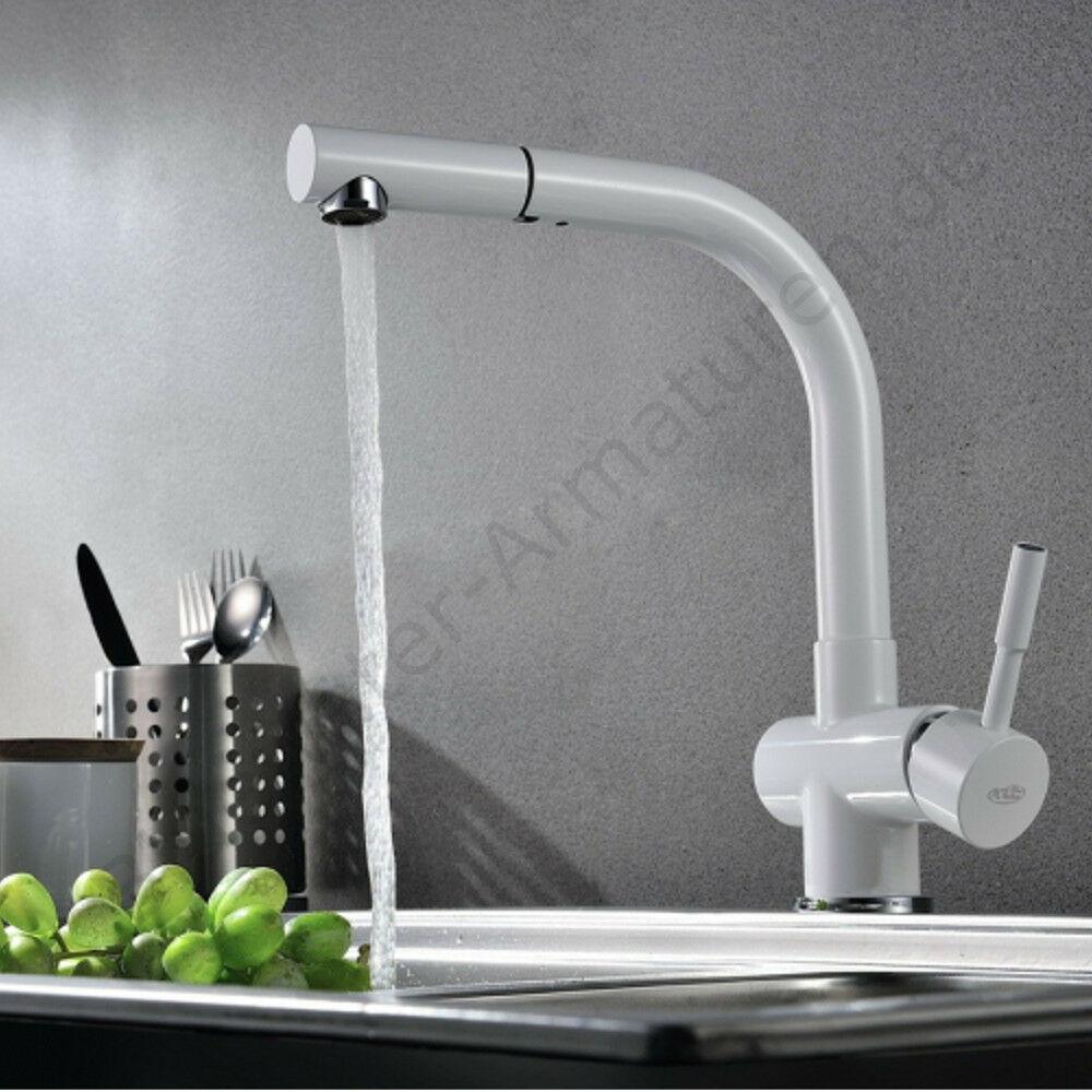 Hochwertige Bluewater LIRA Weiß Küchenarmatur Wasserhahn mit Brause