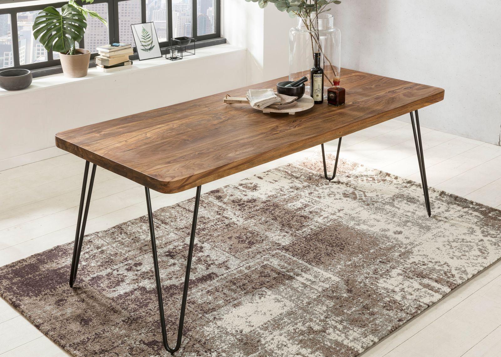 Wohnling Esstisch Bagli Massivholz Sheesham 120 Cm Esszimmer Tisch