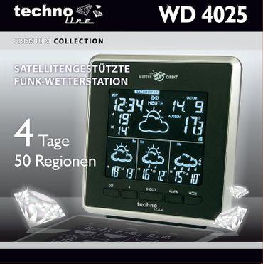 FUNK-PROFI-WETTERSTATION WD 4025 TECHNOLINE FARBDISPLAY UHR INKL. SENDER NETZTEIL – Bild 3
