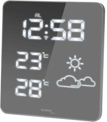 FUNK-WETTERSTATION TECHNOLINE WS 6825 weiß LED FUNK-UHR THERMOMETER INKL SENDER