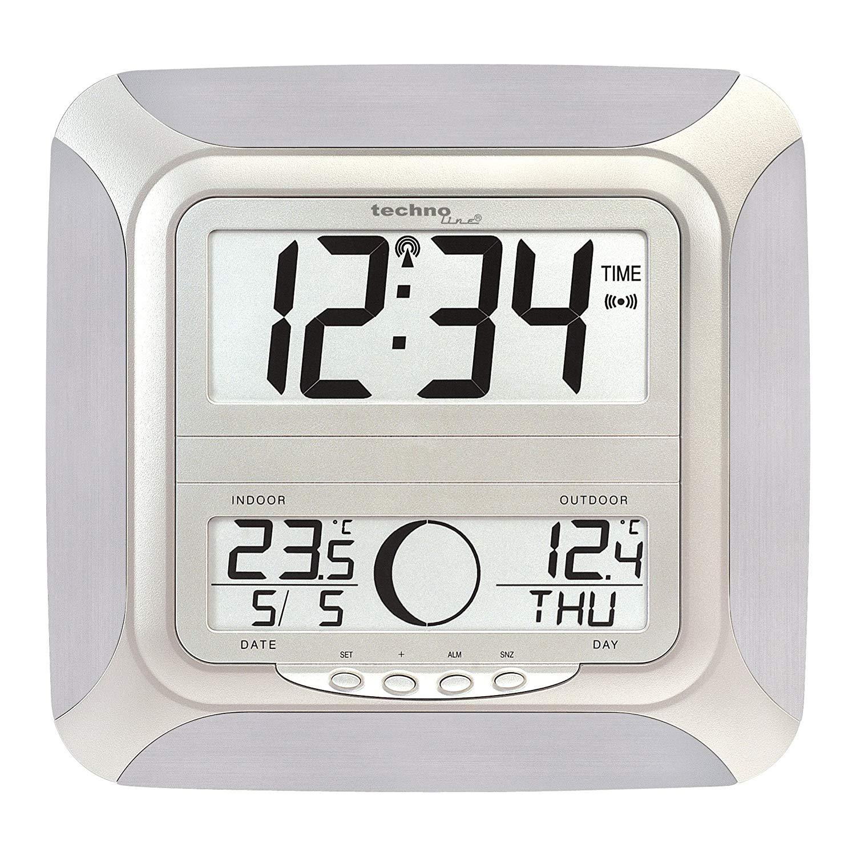 Design Funk Wanduhr Thermometer Mond BÜrouhr Technoline Ws 8118 It Inkl Sender