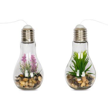 4x LED Deko Glühbirne mit Kunstpflanze - Glas Glühlampe Hängelampe Tisch Leuchte Licht Lampe Balkondeko  – Bild 2