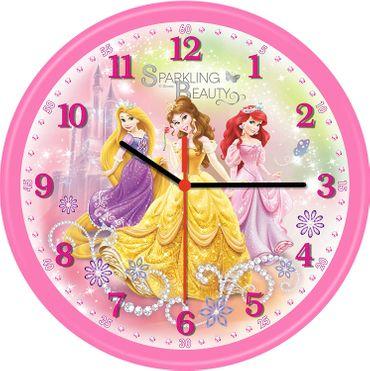 Farbenfrohe Kinderwanduhr im Disney Princess Design  Ø 24,4 cm