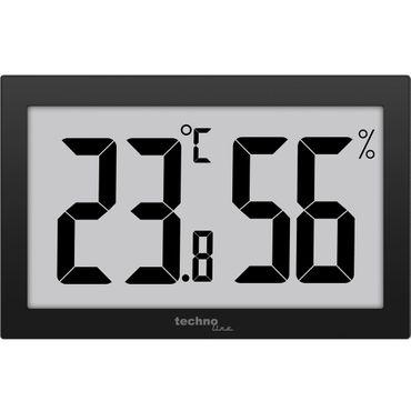 Digital XXL-Thermometer Hygrometer XXL Technoline WS 9465 Thermometer gut ablesbar schwarz mit Jumbo LCD für Büro Hotel Foyer – Bild 1