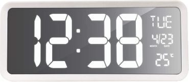 WANDUHR TISCHUHR TECHNOLINE WS 8130 WEIß LED DIGITAL 36CM SCHMALL MIT TEMPERATUR ANZEIGE
