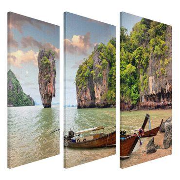 Leinwandbild Thailand Boat Triptychon – Bild 2