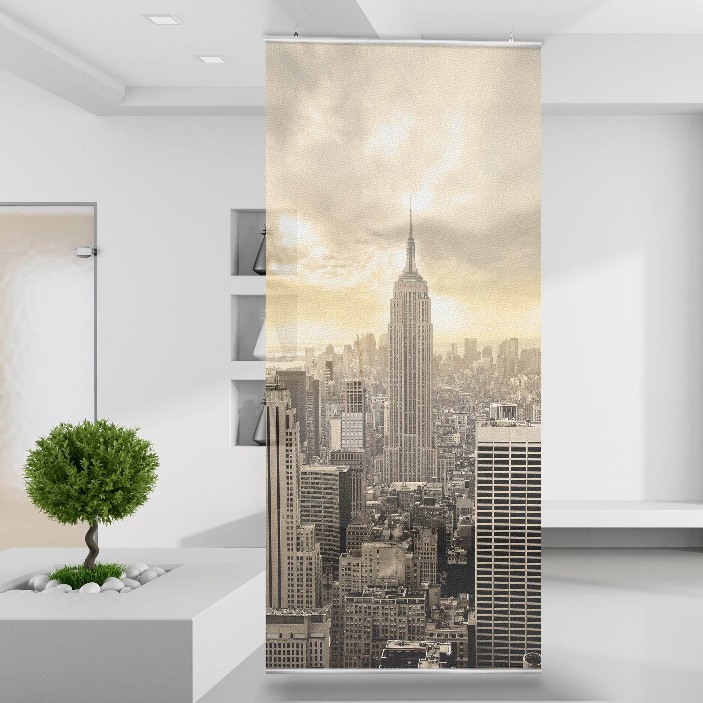 raumteiler gardine manhattan skyline lights 120 x 250 cm. Black Bedroom Furniture Sets. Home Design Ideas