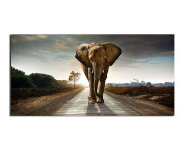Leinwandbild Big Elephant on Street 2 zu 1 – Bild 1
