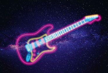 Vliestapete Glowing Guitar 372x254cm – Bild 1