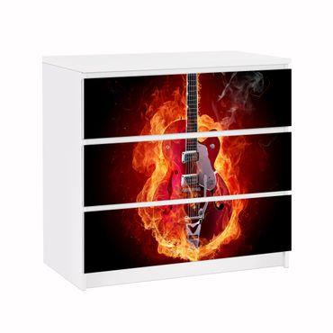 Möbelfolie IKEA Kommode - Selbstklebefolie - Design: Gitarre in Flammen