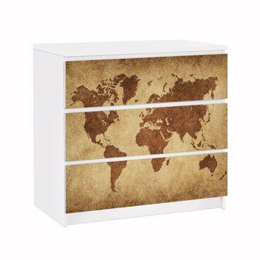 Möbelfolie IKEA Kommode - Selbstklebefolie - Design: Worldmap – Bild 1