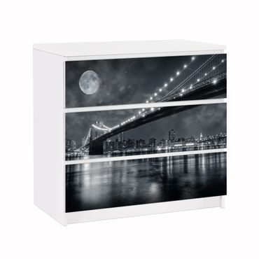 Möbelfolie IKEA Kommode - Selbstklebefolie - Design: Brooklyn Bridge by Night – Bild 1