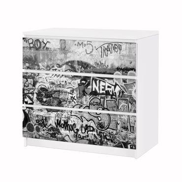 Möbelfolie IKEA Kommode - Selbstklebefolie - Design: Grey Grafitti – Bild 3
