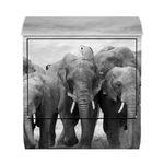 Design Briefkasten - Elefanten Familie - mit Zeitungsfach