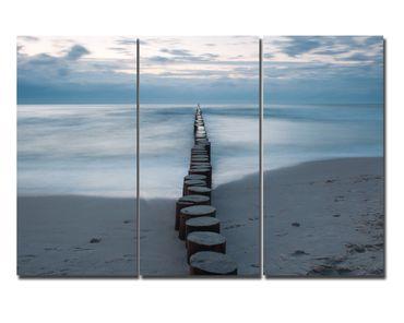 Leinwandbild Wellenbrecher Triptychon